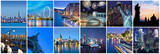 Cities of the word at night, panoramic collage - 206817829