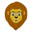 Cartoon head of a smiling lion