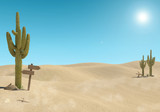 Sandy desert landscape with cactus and wooden sign on blue sky background, 3D Rendering - 206820443