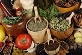 many different spices background - 206820693