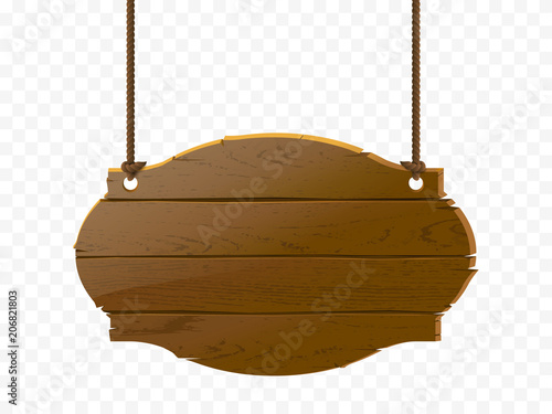 Wooden signboard isolated on checkered background, vector realistic wood texture illustration. Old-style banner with rope.