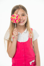 Girl Eating Big Candy On Stick Or Lollipop Girl On Smiling Face Holds Giant Colorful Lollipop In Hand    Kid  Long Hair Likes Sweets And Treats Sweet Tooth Concept Sticker