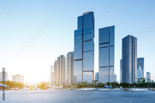 modern square and skyscrapers - 206824822