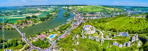 Leinwanddruck Bild Chateau Gaillard with the Seine river in Les Andelys commune - Normandy, France
