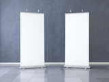 Two Blank roll up banner display. Template mockup. 3d render - 206831809