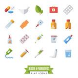 Pharmaceutics and medicine flat design isolated icons vector set. - 206833872