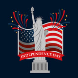 monument statue of liberty flag fireworks american independence day vector illustration - 206836655