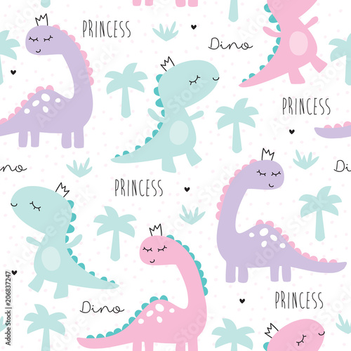 Cotton fabric seamless princess dinosaur animal pattern vector illustration