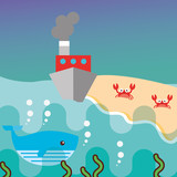 boat crabs in beach whale underwater sea life vector illustration