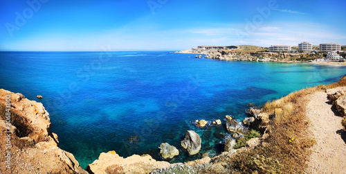 Colorful panorama at Ghajn Tuffieha, Malta