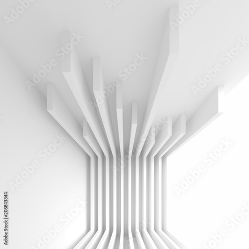 Abstract Interior Design. Office Room Background. White Modern Wallpaper - 206843844