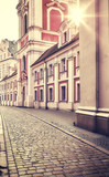 Poznan Old Town at sunrise, retro color toning applied, Poland.