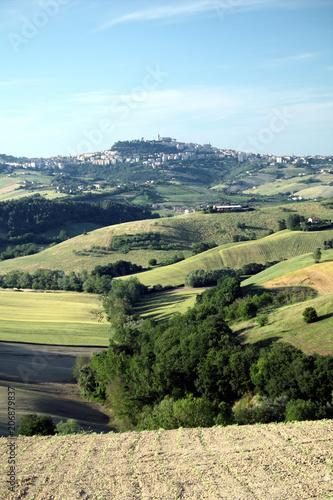 Fotobehang Beige regione Marche,campagna,colline,campi,agricoltura,paesaggio,Italia