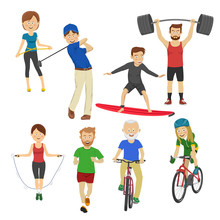 People Playing Different Sports Golf Surfboard Jump Rope Runner Barbell Bicycle  Sticker