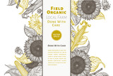 Sunflower and corn gesign template. Sunflower banner. Vector hand drawn illustration. Can be use for organic and natural products, restaurants and cafe.