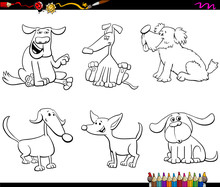 Cartoon Dog Or Puppy Characters Color Book Sticker