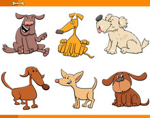 Dogs And Puppies Cartoon Characters Set Sticker