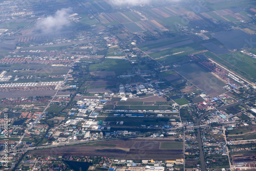 landscape look down from the airplane look see the sky and cloud beautiful © pcbang