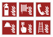 fire protection signs - emergency pictogram icon set, vector