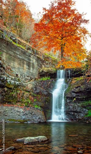 Fotobehang Herfst Nice autumnal scene with waterfall