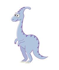 Colorless funny cartoon parasaurolophus. Vector illustration. Co