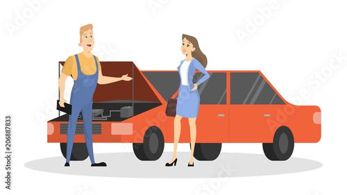 Aluminium Auto Car service illustration.