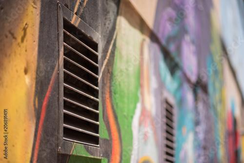 Colourful graffiti detail on a wall in Johannesburg CBD