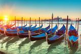 Gondolas in Venice at sunrise - 206896630