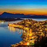Greek town Poros at night, Greece - 206896855