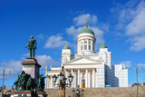 Cathedral and monument to Russian Emperor Alexander II in the Old Town of Helsinki, Finland - 206897018