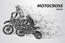 Motocross Particles Motocross Competition Two Motorcyclists Race Sticker