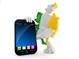 Ireland character with smartphone