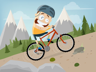 funny cartoon man is riding a mountain bike with landscape background