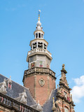 Tower of town hall in Bolsward in Friesland, Netherlands