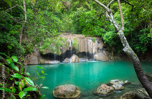 Erawan Waterfall is a beautiful waterfall in spring forest in Kanchanaburi province, Thailand. © Aunging