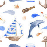 Nautical watercolor seamless pattern. A ship, a dolphin, a bottle with a note, a telescope, shells, waves, an anchor, a sailor cap. Texture in a marine style for invitations, postcards, wallpapers.