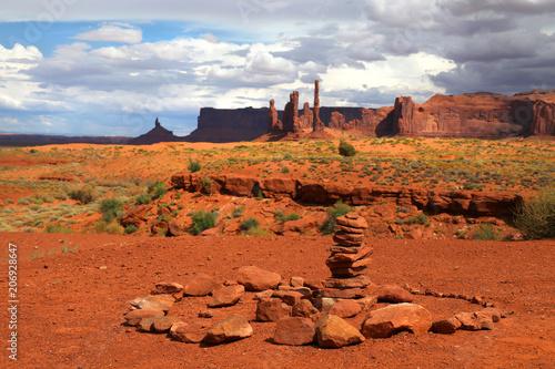 Fotobehang Baksteen Stones stack at Monument Valley
