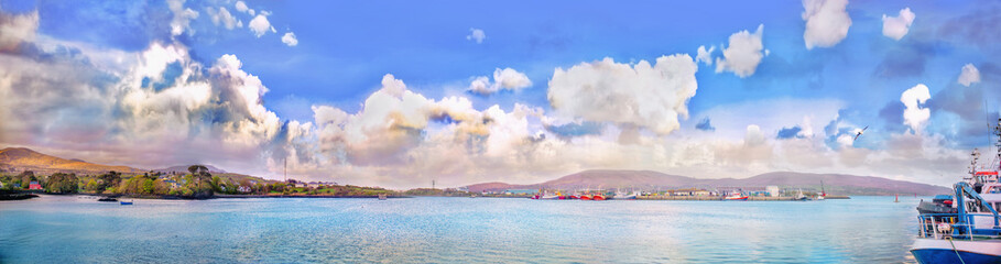 Panoramic landscape with cumulus clouds and ships in a county Kerry © agephotography