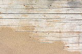 Sand on planked wood. Summer background with copy space. Top view - 206945017