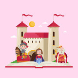 Fairytale poster with beautiful princess, little knight in armor on warrior horse and king wearing crown and mantle near medieval castle. Fantasy vector illustration in cartoon style for little kids.