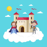 Fairytale poster with beautiful princess in crown, knight in armor and medieval castle on big cloud in sky. Magical world, fantasy vector illustration in cartoon style for little kids greeting card.