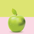 Two colored background with green apple - 206947065