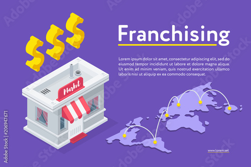 Isometric view of Franchising banner with world map; market building and dollar signs on purple background.