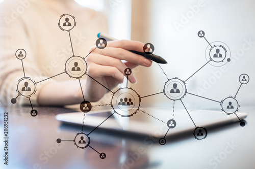 Organisation structure. People's social network. Business and technology concept.