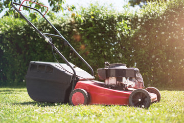 Red Lawn Mower Garden