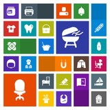 Modern, simple, colorful vector icon set with sign, fast, meat, universe, erase, business, cooking, cosmos, magnet, desk, rubber, education, interior, magnetic, space, chair, cabinet, bbq, work icons