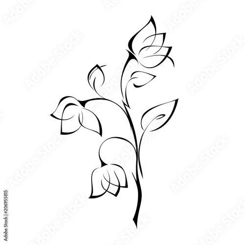 ornament 297. decorative flower with Bud and leaves in black lines lines