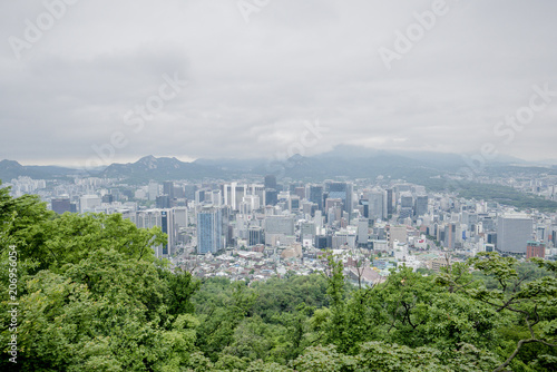 Fotobehang Seoel Top view city in seoul tower