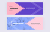 Geometric banners with pink and blue triangles background. Marble texture. Modern and fashion design with shapes. Template for card, flyer, invitation,  wedding, business, layout - 206962257