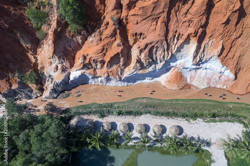 Canvas Zalm Red Canyon and The Fairy Spring aerial view, Mui Ne, Vietnam